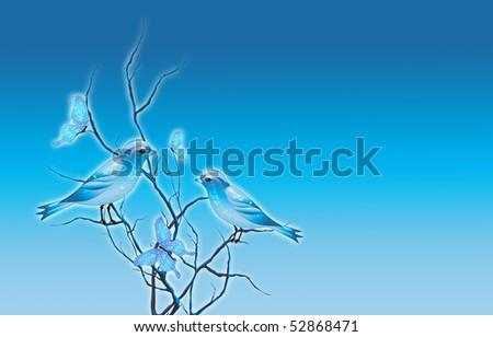 Birds and butterflies background