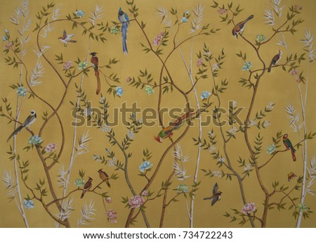 birds and flowers on gold...