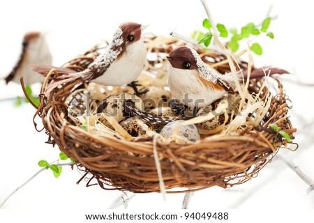 birds and quail's eggs in an Easter nest