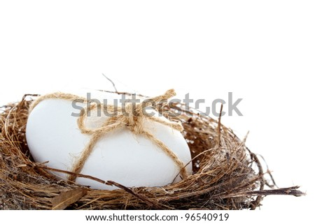 Birds Egg in a nest for Easter, tied with natural string and isolated on white