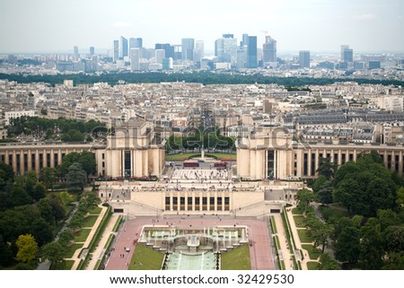 Birds eye view from Eiffel tower on Place de Varsovie, Pont d\'Iena and Challiot Palace
