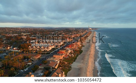 Birds eye view of Carlsbad village and miles of beach in north county San Diego California Stock fotó ©