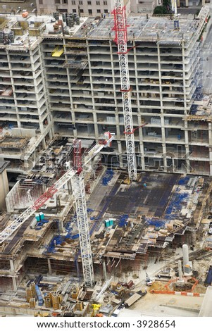 Birds eye view of construction site.