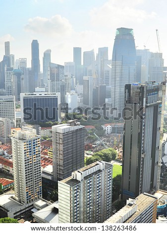 Birds-eye view of Singapore downtown in the sunny morning