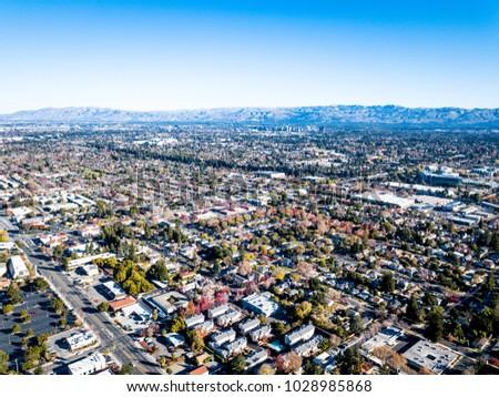 Birds eye view photo of Silicon Valley in California