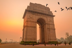 birds fly over india gate, new delhi, india