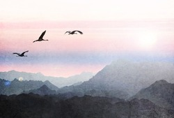 Birds flying at sunrise over the mountains. Migrating crane birds. Paper texture. Aged textured photo in retro style