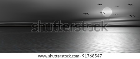 Birds flying in front of the full moon upon the ocean by quiet night