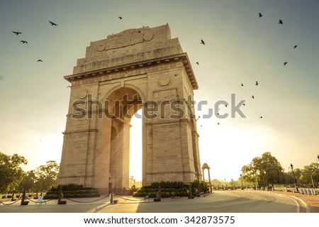 Birds flying over India Gate, New Delhi #342873575
