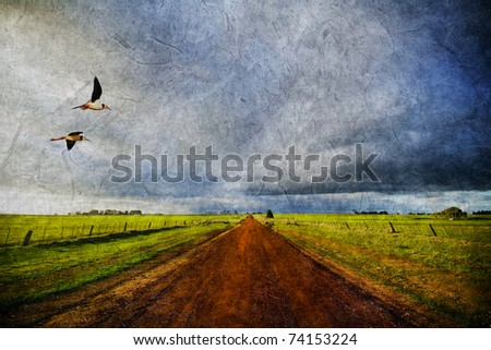 Birds flying with storm clouds and dirt road designed on paper background texture