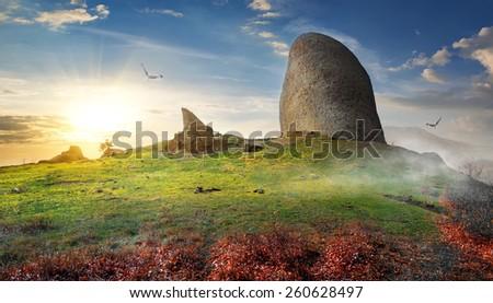 Birds over big stone on mountain in autumn