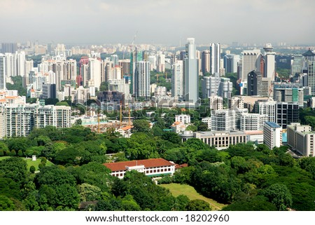 Birdseye view of residential downtown, Singapore