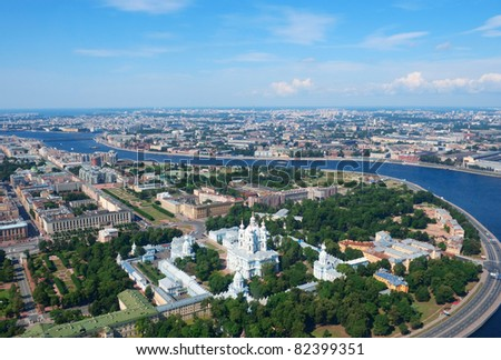 Birdseye view of Smolny convent and Neva river in Saint Petersburg, Russia