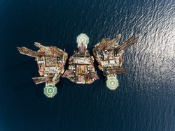 Birdseye View on Oil and Gas Drilling Platform in the Gulf of Guinea in Africa