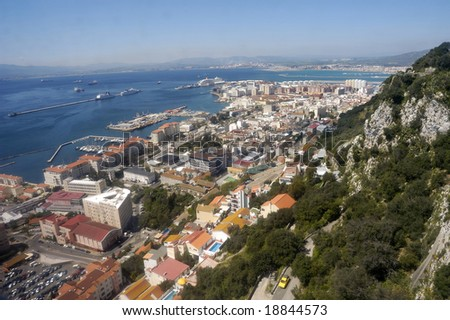 Birdview over Gibraltar seen from the rock