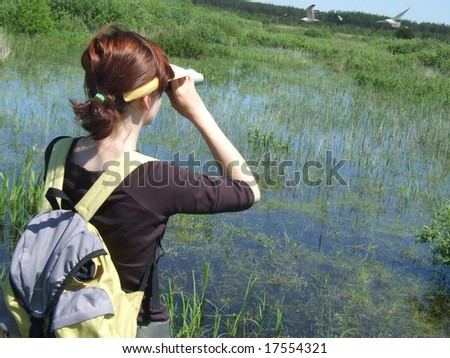 Birdwatching on the swamp -  Siemianowka lake, Poland. More images of birdwatching in my portfolio.