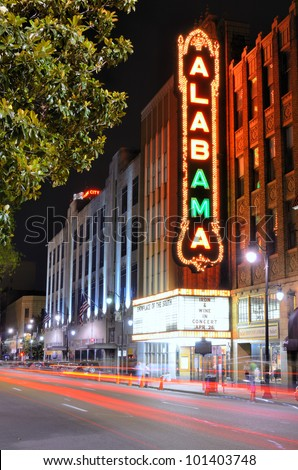 BIRMINGHAM, ALABAMA - APRIL 26: Alabama Theatre April 26, 2012 in Birmingham, AL. Built by Paramount in 1927, it is the sole surviving venue in a once prominent theater district.