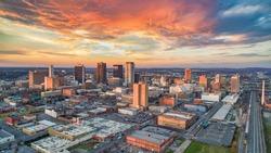 Birmingham, Alabama, USA Downtown Drone Skyline Aerial Panorama.