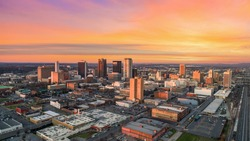 Birmingham, Alabama, USA Drone Skyline Aerial.