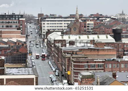 Birmingham in West Midlands, England. Famous post-industrial Digbeth district. Looks perfect in this gloomy autumn weather. - stock photo