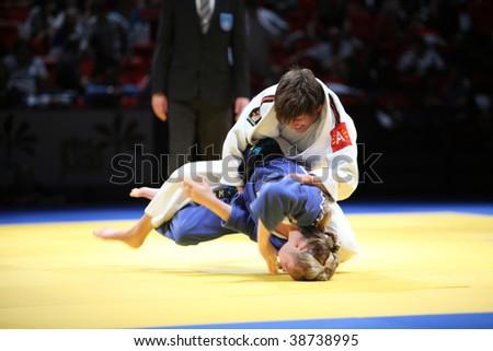 BIRMINGHAM - SEPTEMBER 19:  Sophie Johnstone (bottom) vs Lise Heylen (top) in the Judo world Cup, September 19, 2009 in Birmingham, England.