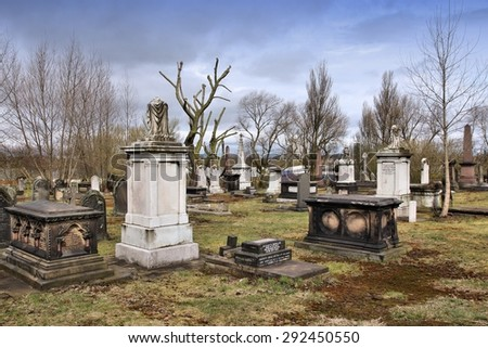 BIRMINGHAM, UK - APRIL 24, 2013: Famous Warstone Lane Cemetery in Birmingham, UK. The cemetery dates back to 1847.