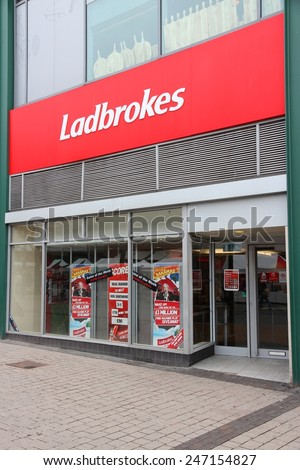 BIRMINGHAM, UK - APRIL 24, 2013: Ladbrokes betting and gaming shop in Birmingham, UK. Ladbrokes has 2,400 retail betting shops in the UK and Ireland.