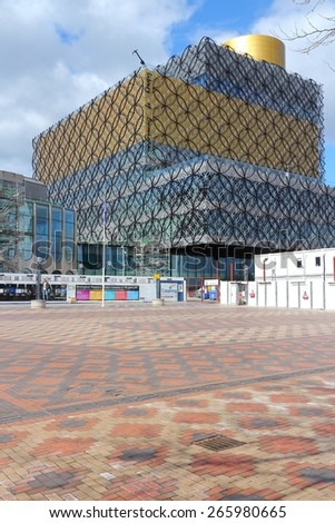 BIRMINGHAM, UK - APRIL 19, 2013: People visit new Library of Birmingham, UK. It is the largest public library in the UK. It opened in 2013.