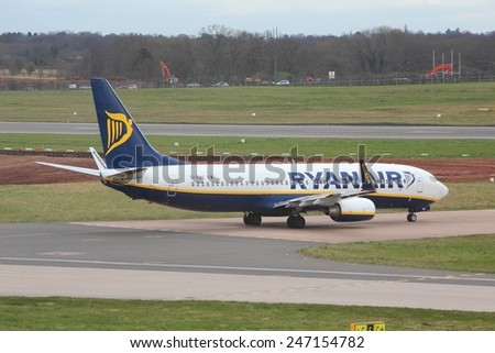 BIRMINGHAM, UK - APRIL 24, 2013: Pilots taxi Ryanair Boeing 737 at Birmingham Airport, UK. Ryanair carried 81.4 million passengers in 2013.