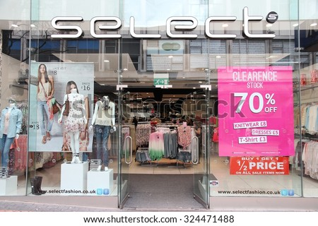 BIRMINGHAM, UK - APRIL 19, 2013: Select fashion store in Birmingham, UK. Select has 154 women\'s clothes stores in the United Kingdom (2014).