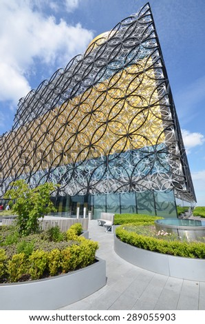 Birmingham, UK - June 16: view of the new library in Birmingham, UK on June 16, 2015. The library is the tenth most popular free tourist attraction in the UK.