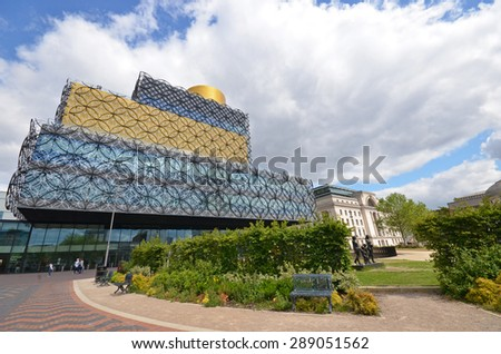 Birmingham, UK - June 9: view of the new library in Centenary Square in Birmingham, UK on June 9, 2015. The library attracts thousands of visitors annually.