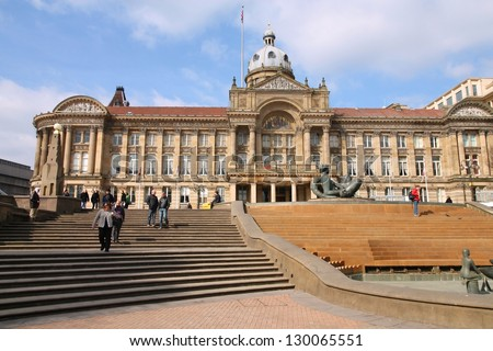 BIRMINGHAM, UK - MARCH 11: People visit famous Victoria square on March 11, 2010 in Birmingham, UK. Birmingham metropolitan area is the 2rd most populous in the UK with 3.7 million people.