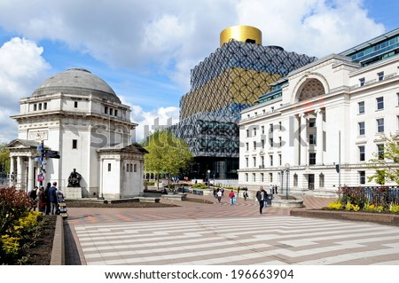 BIRMINGHAM, UK - MAY 14, 2014 - Hall of memory with Centenary square and Library of Birmingham to the rear, Centenary Square, Birmingham, England, UK, Western Europe, May 14, 2014.