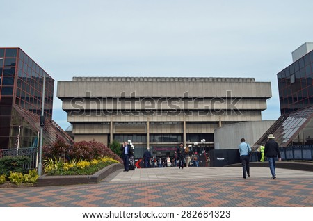 Birmingham, UK - May, 15: view of the old central library in Birmingham, UK on May 15, 2015. Built in the Brutalist style, the building will soon be demolished.