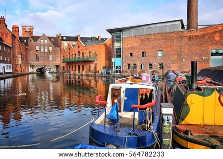 Birmingham water canal network - famous Gas Street Basin. West Midlands, England. #564782233