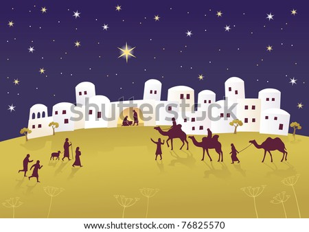 Birth of Jesus in Bethlehem Raster image.