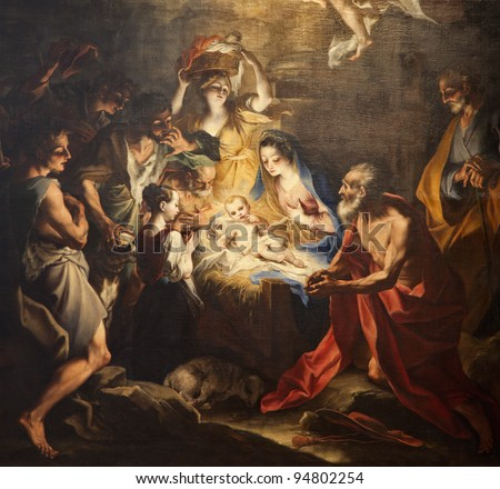 birth of Jesus - paint from Milan church