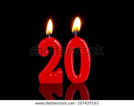 Birthday-anniversary candles showing Nr. 20