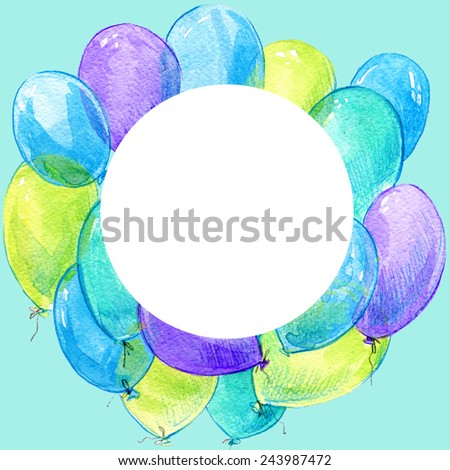 Birthday background with flying colorful balloons with place for text on blue background. watercolor