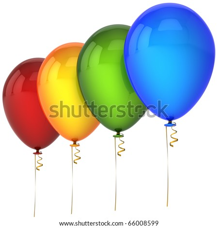 Birthday balloons colorful red orange green blue party decoration. Happy New Year Merry Christmas greeting card concept. Joy fun happiness abstract. Detailed 3d render. Isolated on white background