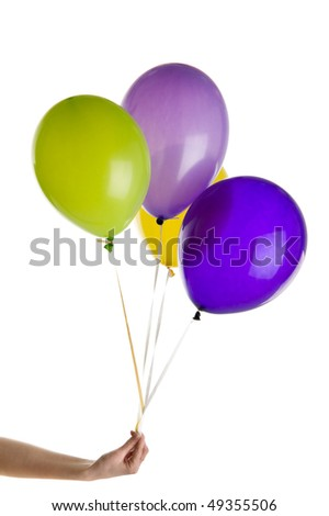 birthday balloons isolated over white background