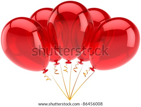 Birthday balloons party balloon 5 five red decoration. Anniversary retirement announcement occasion graduation life events greeting card concept. 3d render isolated on white background