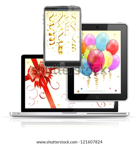 Birthday Balloons, Streamer and Bow on Laptop Screen, Tablet PC and Smartphone, isolated on white background, illustration