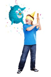 Birthday boy with pinata over the white background