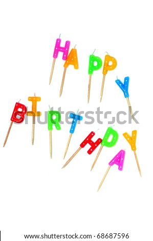 happy birthday cake candles. stock photo : irthday cake
