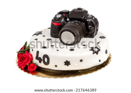 birthday cake for forty anniversary with modern DSLR photo camera isolated on white