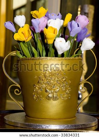 Birthday Cake Look Like Gold Vase Vith Marchpane Flower Stock Photo ...