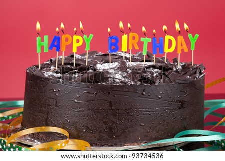 Birthday Cake with birthday candles isolated on red