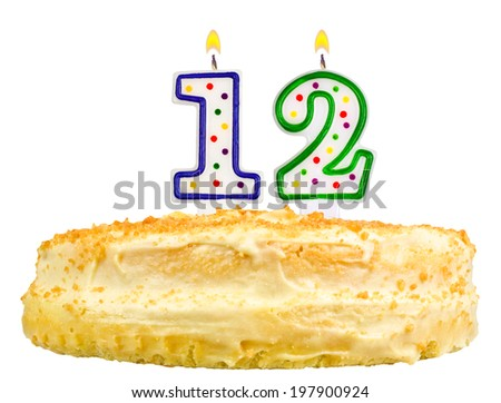 Birthday Cake With Candles Number Twelve Isolated On White Background 197900924